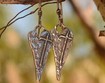 Artisan Earrings, Cross on Heart Earrings, Carry Your Cross Earrings