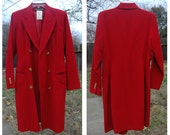 Vintage 90's Harve Berard Red double breasted Military Gold button Long Jacket Blazer Coat