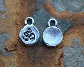 2 Antique Silver Itsy Spiritual Ohm Charms, Nunn Designs 12.7 x 9.1mm