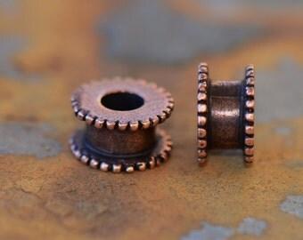 1 Antique Copper Channel Bead 6 x 11mm Nunn Designs