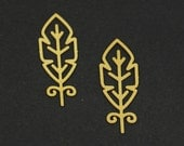 Exclusive - 4pcs Raw Brass Feather Charm / Pendant, Fit For Necklace, Earring, Brooch - TG108