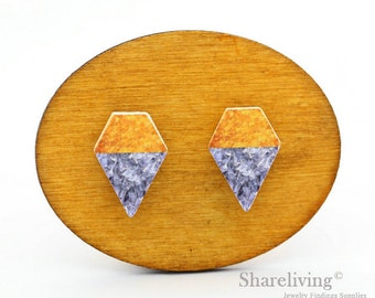 10pcs Geometric Wood Gold Silver Cabochon / Wooden Color Block Charm, Perfect for Earring, Necklace - HWE003C
