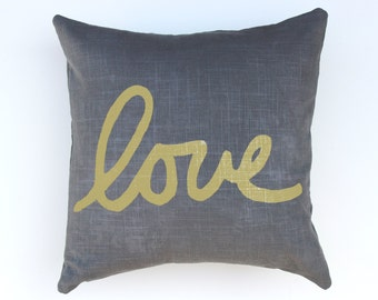 Gray Love Throw Pillow - Hand Lettered Love Pillow - Cursive Font Love Pillow - Nursery Decor
