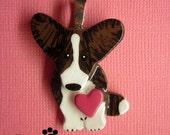 Cardigan Welsh Corgi Brindle Love Pendant. Artist Hand-made Dog Art Jewelry Necklace. A2