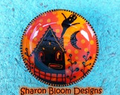 Halloween Haunted House Small Ceramic Bowl Hand Painted by Sharon Bloom Designs