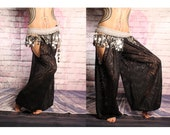 Tribal Belly Dance Harem Pants, Black Lace cut out leg. Gypsy costume, Turkish floorwork, tribal fusion, Art Nouveau Costume, baggy pants