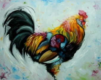 Rooster 826 24x30 inch original animal portrait oil painting by Roz