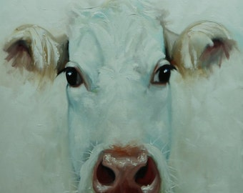 Cow painting 1147 24x24inch animal original oil painting by Roz