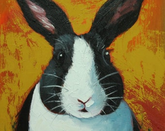Rabbit painting 53  12x12 inch original oil painting by Roz