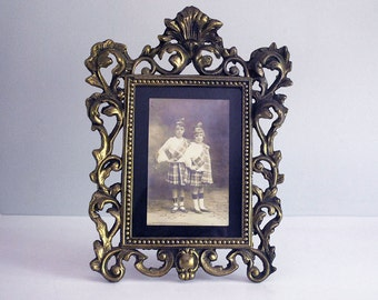Cast Iron Frame, Victorian Art Nouveau Picture Frame, Brass Plated Iron, Ornate Easel Frame, Standing Frame, Hollywood Regency Decor
