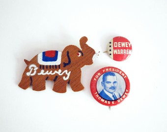 1940s Campaign Buttons, Thomas Dewey Pins, Republican Elephant, U.S. President Political Pinback Collectible, Election Memorabilia, Red Blue