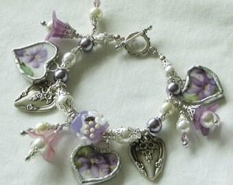 Broken China Bracelet - Bracelet - Handmade Bracelet  Charm Bracelet  Vintage China Bracelet  Heart Charm Bracelet Lampwork Jewelry