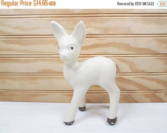 ON SALE Vintage Fawn Deer Figurine White Ceramic Pottery Retro Mid Century Modern