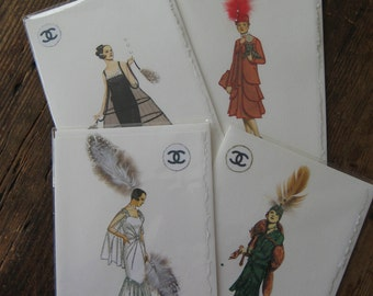 Fashion illustration Coco Chanel Set  2- Boxed set of 4 Coco Chanel fashion note cards