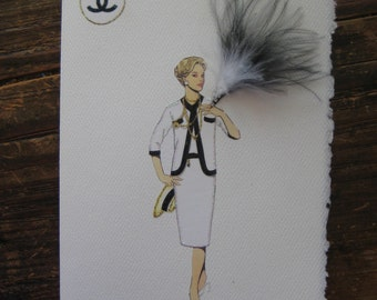 "Coco Chanel  fashion illustration 1958""Classic Jersey Suit with gold chains"" note card"