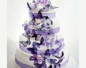 NEW YEAR SALE 50 Mauve and Purple Mixed Butterflies great for Cake Toppers,  table decorationsand invitations