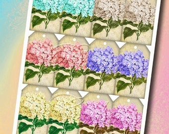 Hydrangeas Tags- LOVeLY Vintage Art- Instant Download- Printable Collage Sheet- JPG Digital File-NeW LoWER PRiCE