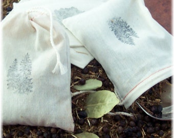 Fir Needle Sachets, Natural Closet Freshener, Juniper Berries Herbal Sachet,  Set of 3