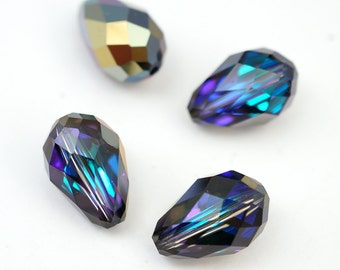 4 pcs Swarovski crystal heliotrope teardrop beads, 13.5mm x 9mm, article 5500