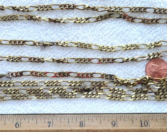 "4 Vintage Brass Figaro Necklaces, 23"", Monet Tag"