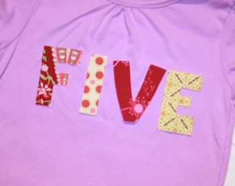 Girls 5th Birthday FIVE shirt - size 5 lilac purple short sleeve shirt - lettering in pink red sage green gray