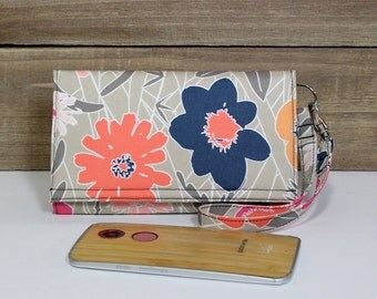 Cell Phone Smart Wallet Wristlet, Cell Phone Pouch, Purse Clutch, Fits All Smartphones, iPhone, Galaxy, LG, Nexus, Moto / Beige Navy Floral