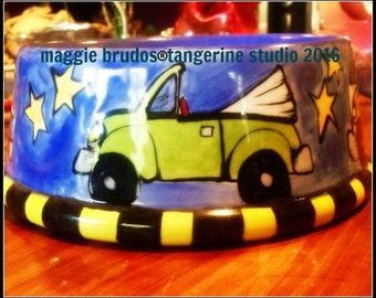 ceramic dog bowl hand painted glazed vw bug bus convertible  love volkswagon pet bowl whimsical ceramic  love maggie brudos tangerine studio