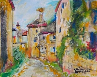 Village in Brittany - Bretagne France - Original Mixed Media Streetscape Art by Jeff Sterling