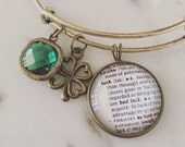 Luck Charm Bracelet - Personalized Definition Jewelry - Irish - St. Patrick's Day - Lucky - Clover - Stacked Bangle