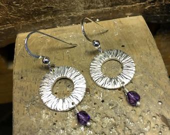 Raincircle drop earrings with purple czech crystal bead by Cristina Hurley