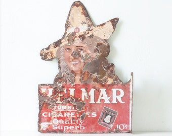 Vintage Helmar Sign, Tobacco Advertising, Helmar Turkish Cigarettes Flange Sign