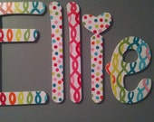 Custom Handpainted Wooden Letters chain link and dots perfect for tweens