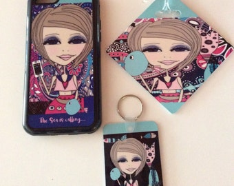 Mermaid Gift set - iphone 6/6s phone case, key chain and bag tag