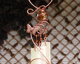 Butterfly Windchime Glass Wind Chimes Copper Garden Lawn Yard Art Sculpture Stained Glass Ornament Metal Amber