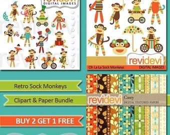 30% OFF SALE Cute SOCK Monkeys cliparts / Instant Download Clipart Bundle.. Retro Sock Monkeys.. Mgb006
