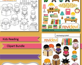 Kids reading clip art bundle / kids sitting reading books, library / digital clip art / commercial use clipart