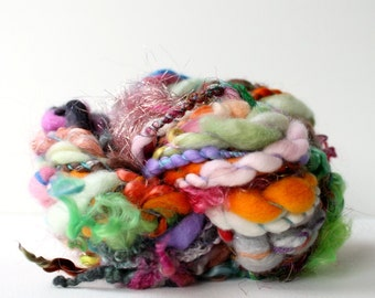 handspun yarn, hand spun yarn, handspun art yarn, boucle yarn, free spirited, chunky yarn, chunky wool yarn, wild yarn, wool ..  wild #4