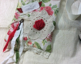 Shabby chic linen cabbage rose tote, carry all, book bag