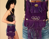 Suede FRINGE Bag ViNtAgE 1960's // Woodstock Era // Purple Suede Handbag 60's 70's Leather Satchel Purse // Hippie BoHo Summer Festival