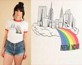 ViNtAgE 80's NEW YORK Ringer T-Shirt Heart RAINBOW Graphic Tee 70s Hippie Tshirt S / M