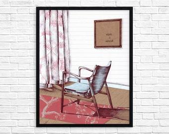 Mid Century Chair Print - Wall Art - Digital Print - Chair Art - Illustrated Chair - Midcentury Modern Art - Scandanavian Style
