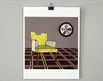 Modern Chair Art Print  - Wall Art - Chair Art- Fine Art Print - Giclee Print - 8 x 8 - Housewarming Gift - Office Art - Gifts Under 25