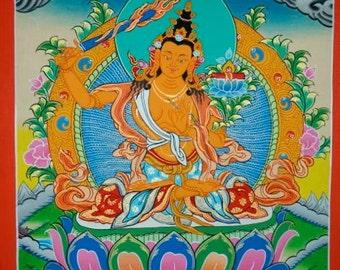 Manjushree Bodhisattva of Divine Wisdom-Original Buddhist Painting.  non-profit