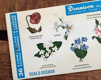 Vintage Dennison Canadian Flowers Gummed Seals (Stickers, Decals) - Book of 36 Seals