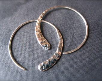 Hammered Crescent French Ear Wires - Solid Sterling Silver - high end jewelry earring findings - supplies