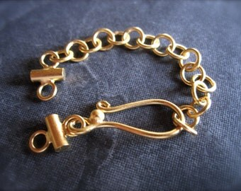 Vermeil hook and eye clasp - extender clasp - double gold plate over sterling silver