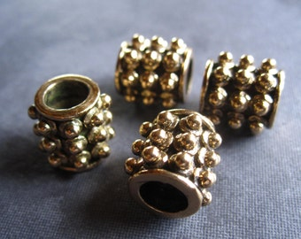 Bronze slider beads - 2 - dotted oxidized tube beads - large holed