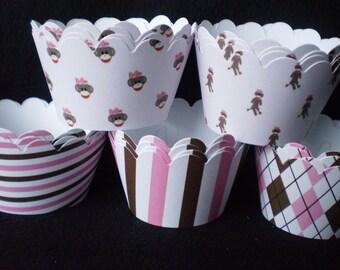 SALE Girl Sock Monkey Cupcake Wrappers (12)