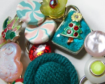 Whimsical Vintage Junk Bracelet - Christmas Collage of buttons, enameled charms & clay peppermint candies, sparkle - Holiday gift for her