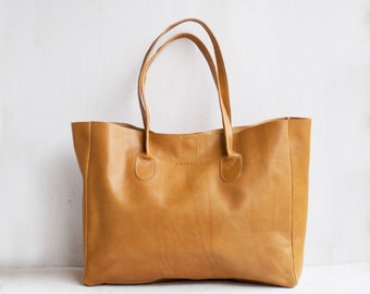 Leather Shopper in Butterscotch / Leather Tote / Shoulder Bag / Brown Leather Bag / Leather Bag  / Leather Handbag